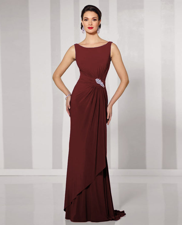 Cameron Blake 216690W Womens Dress WIth Brooch & Shawl wine plus size mother of the bride dress