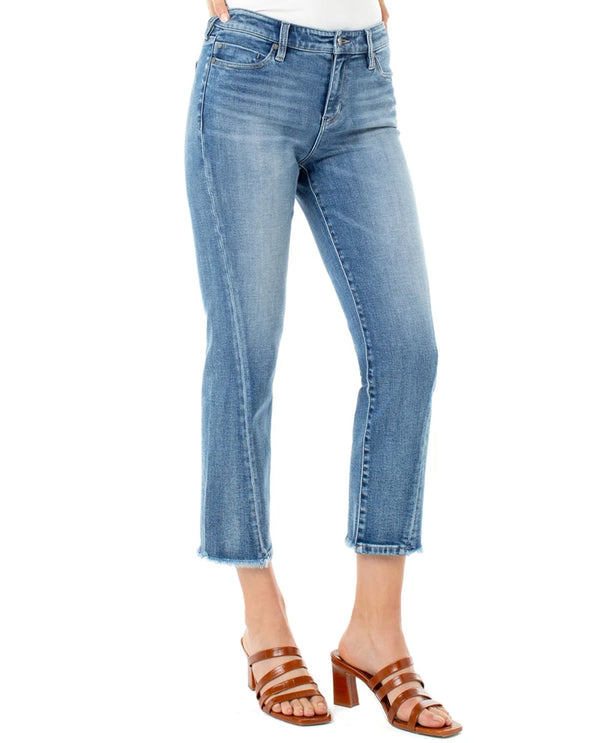 Liverpool Jeans LM7229VH Crop Straight Jeans with Twisted Front Side Seam DMSK