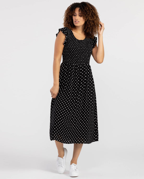 Tribal 3831O-2352 Smocked Polka Dot Dress with Pockets Night