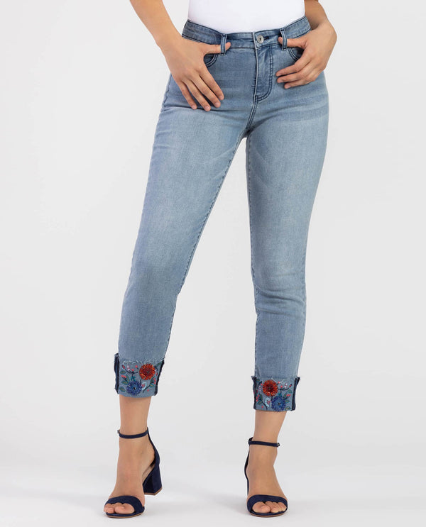 Tribal 6638O-292B Beaded Rolled Hem Jeans Skyblue