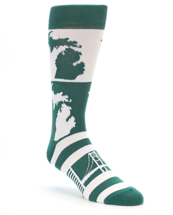 22851 Michigan State Men's Socks  Green & White