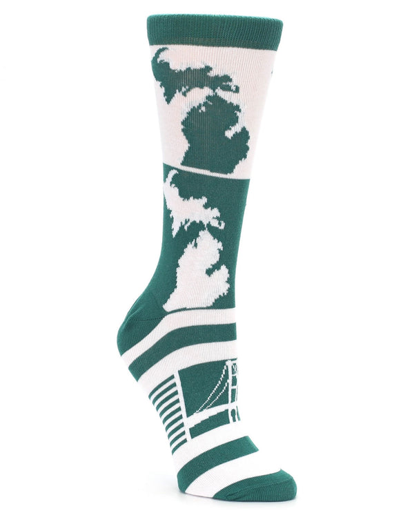 23833 Michigan State Women Sock Green & White