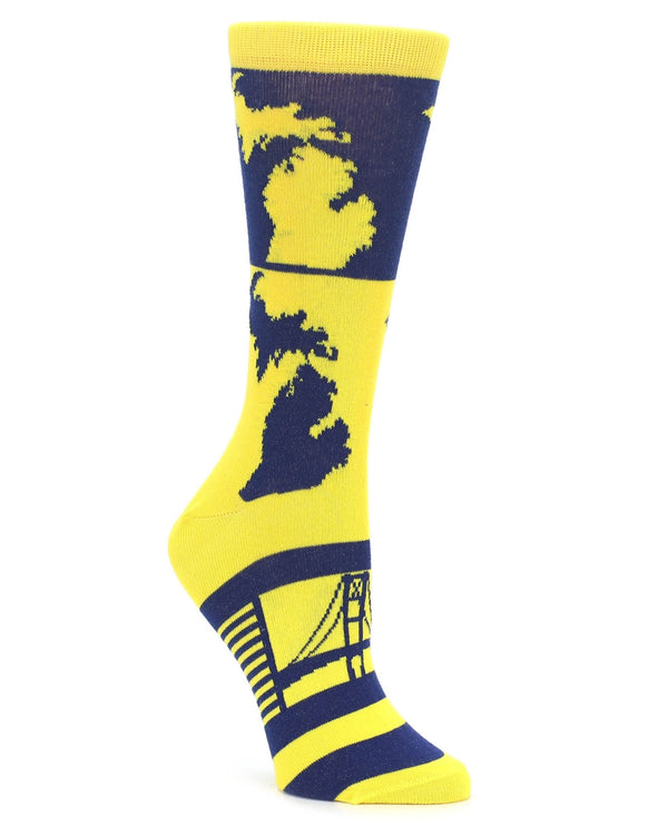 23834 U Of M Womens Socks Blue Gold