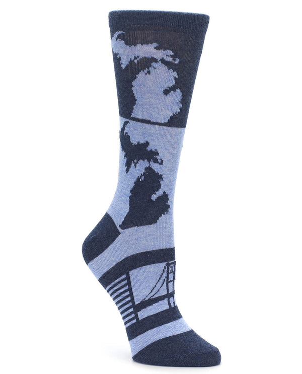 23835 State Of MI Womens Socks Blue