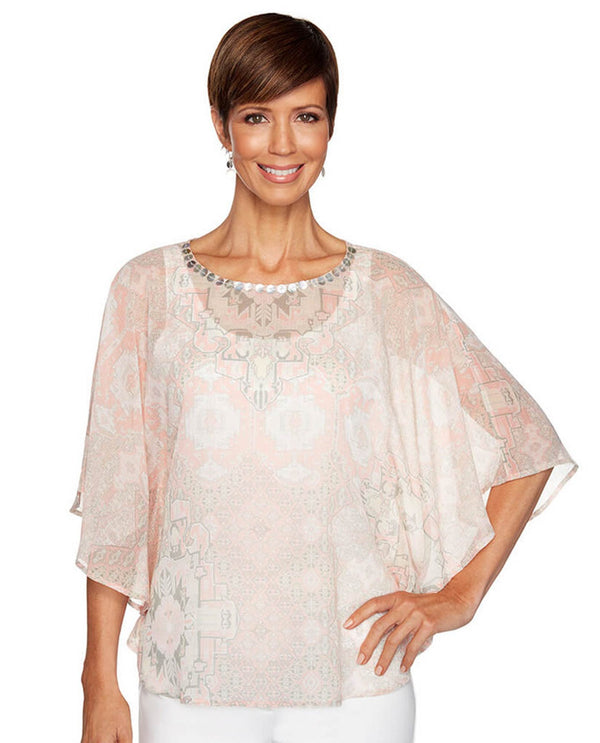 Ruby Rd 26343 Multi Print Embellished Neck Top Rose