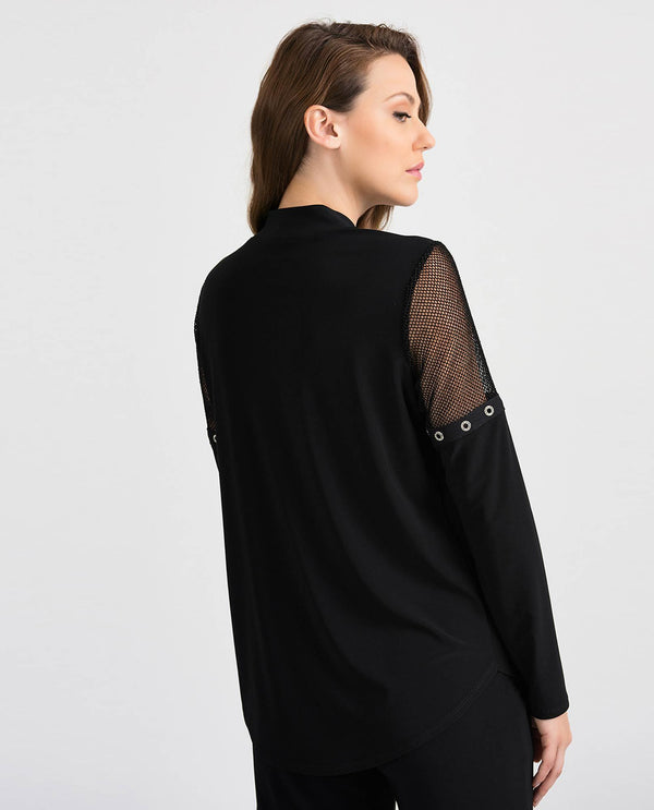 Joseph Ribkoff 201064 Zip Front Detail Top Black