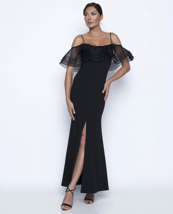 Frank Lyman 208363 Off The Shoulder Mesh Dress Black