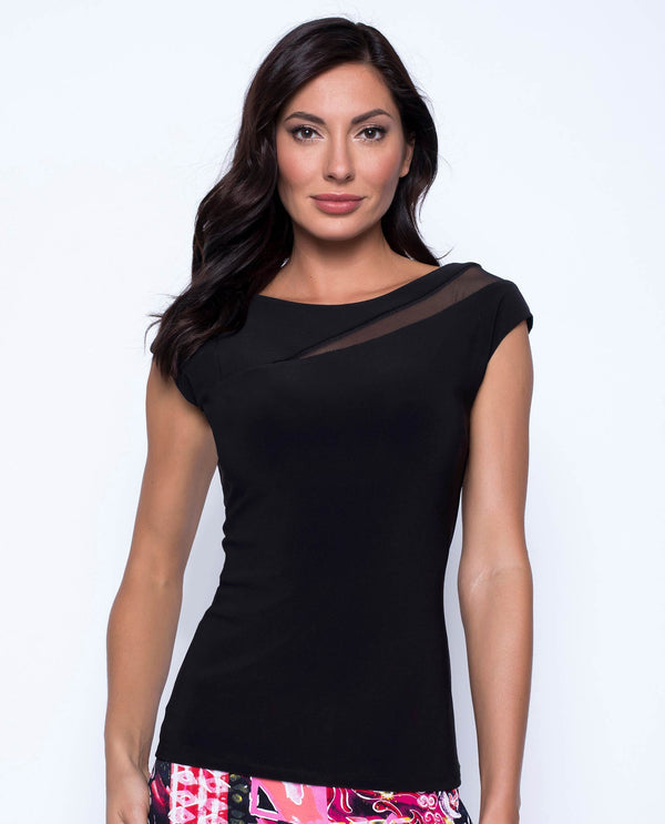 Frank Lyman 201048 Short Sleeve Top with Sheer Cutout Black