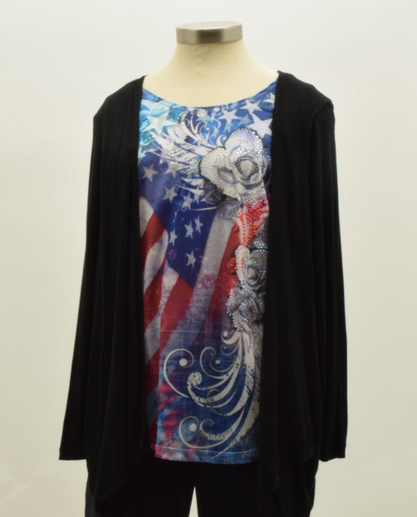 Flag Print Top with Roses and Built In Cardigan Plus Size