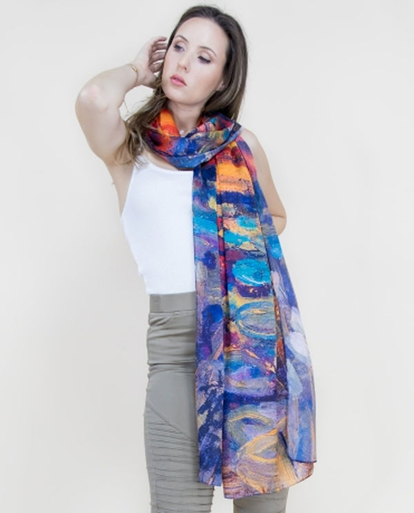 40555-R Watercolor Sunset Scarf