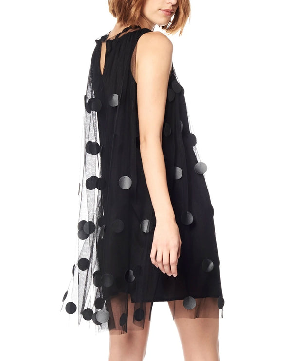 2 Piece Polka Dot Sleeveless Dress Black