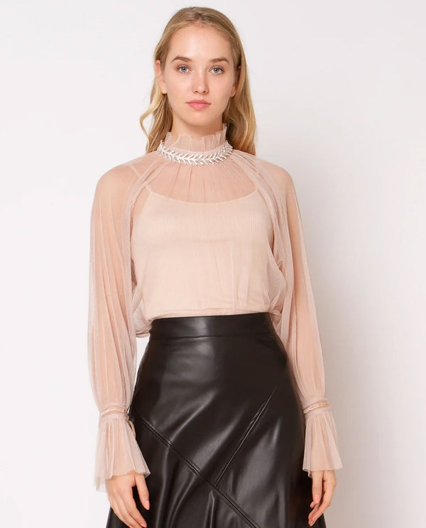 Beige 2 Piece Shiny Pleated Top
