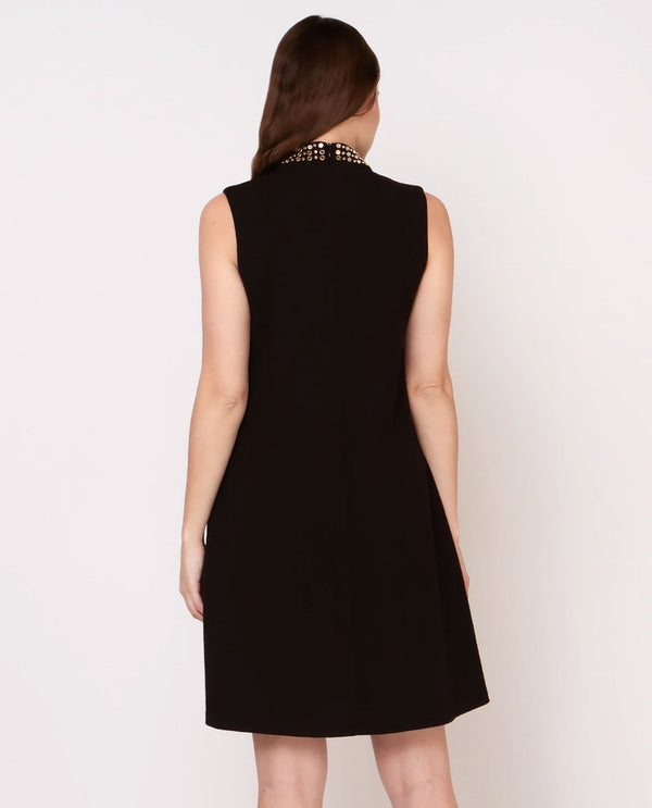 Black Studded Collar Keyhole Dress
