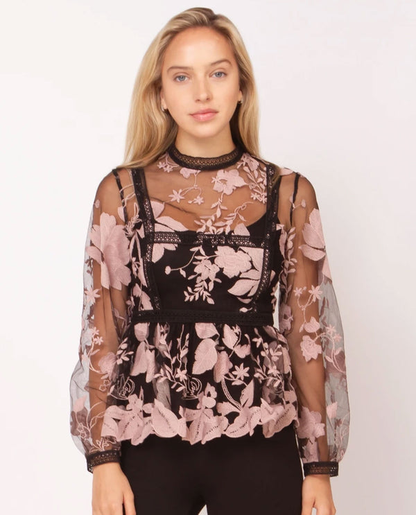 2 Piece Mauve Floral Embellished Top Black
