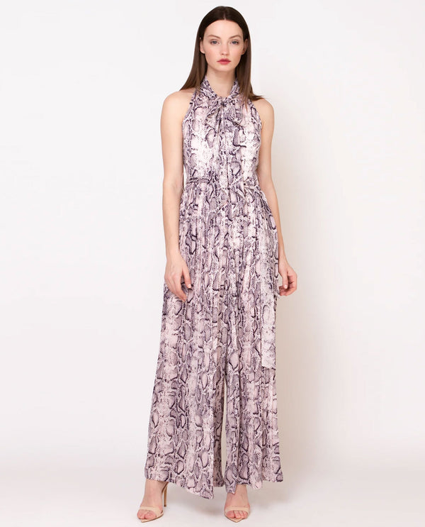 Pink Snakeprint Pleated Jumpsuit