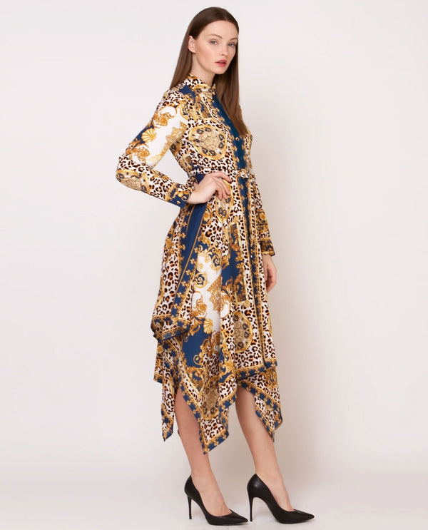 D30053 Black and Gold Print Handkerchief Dress