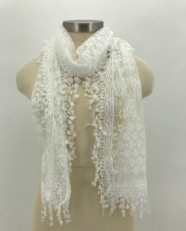 Rectangle Lace Trim Scarf White
