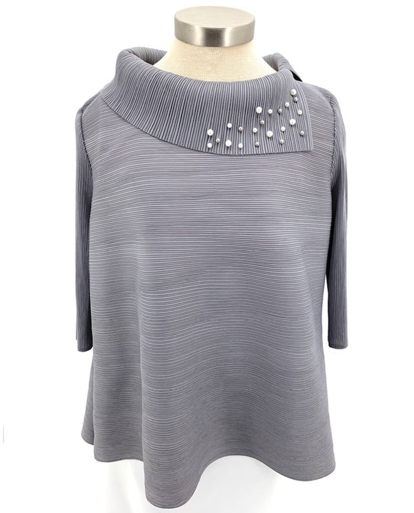 Pleated Pearl Neckline Top Grey