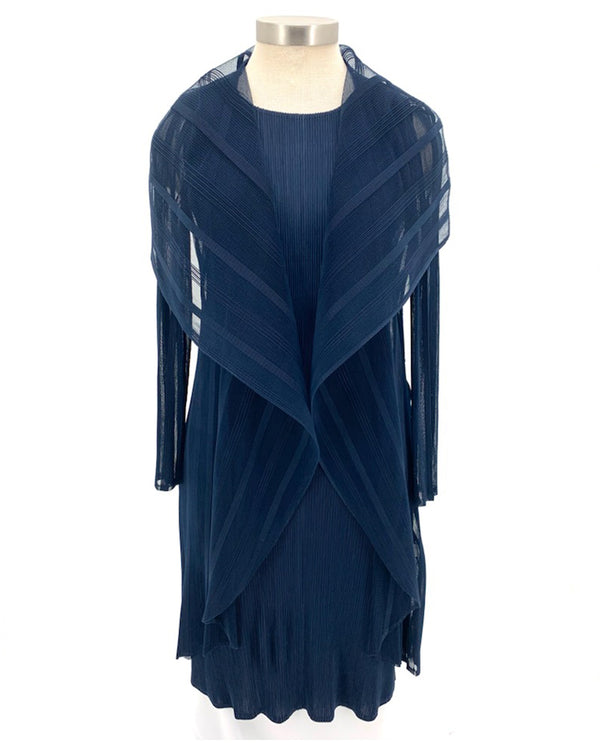 2 Pc Pleated Top with Large Collar Navy