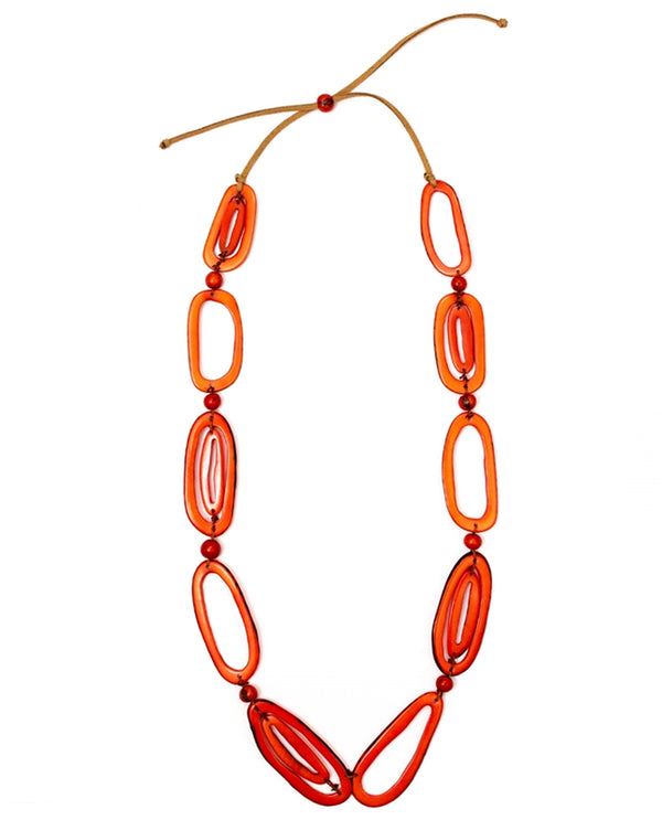 Organic Tagua LC342 Emily Necklace Poppy Coral