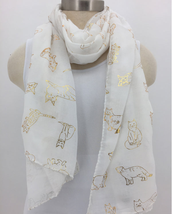 Cat Outline Scarf-White