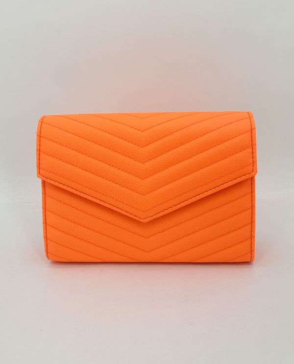 Neon Quilted Envelope-Orange