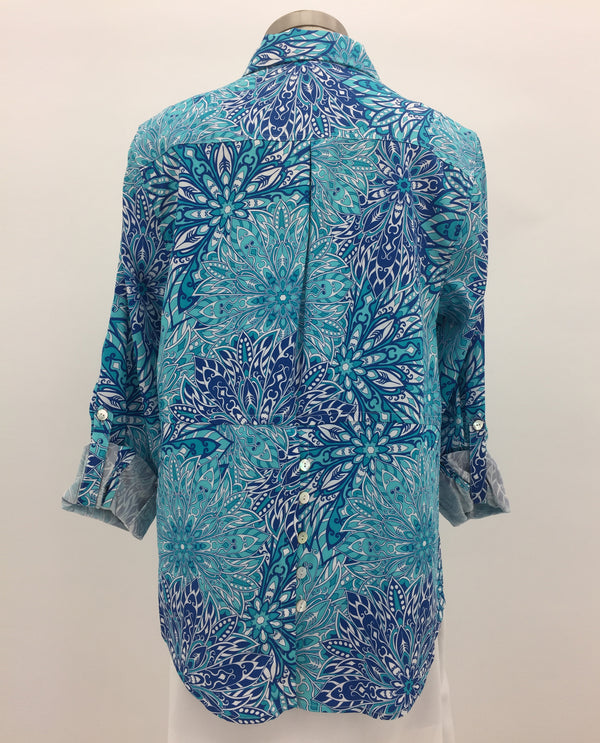 Multiples M20110BM Button Front Turquoise Print Top