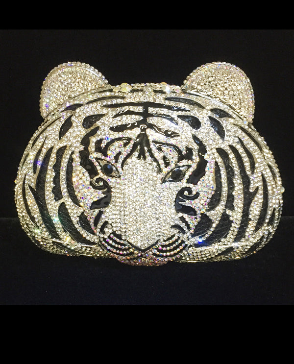Tiger Face Crystal Evening Bag