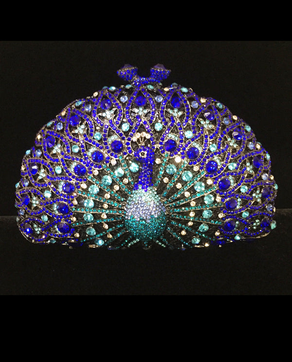 Amethyst Crystal Peacock Evening Bag
