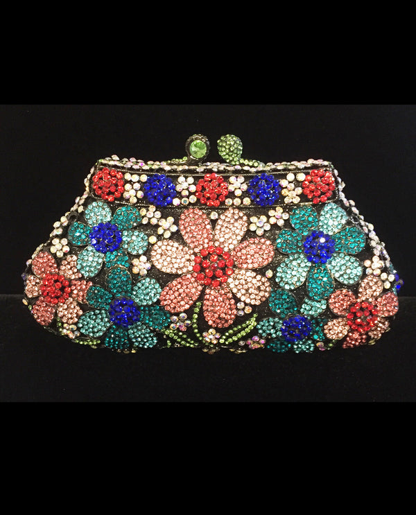 Crystal Multi Color Flower Evening Bag