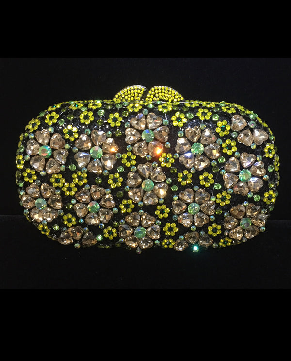 Crystal Floral Heart Evening Bag