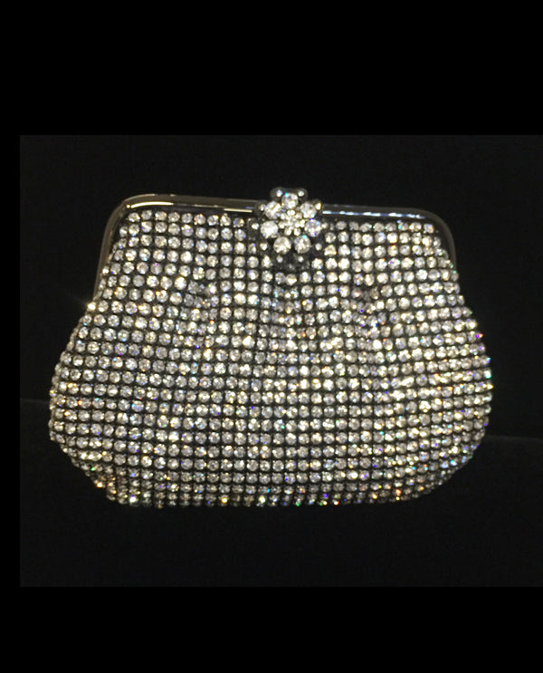 Black Metal Rhinestone Coin Purse