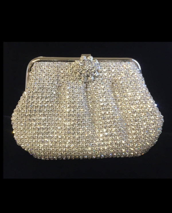 Silver Metal Rhinestone Coin Purse