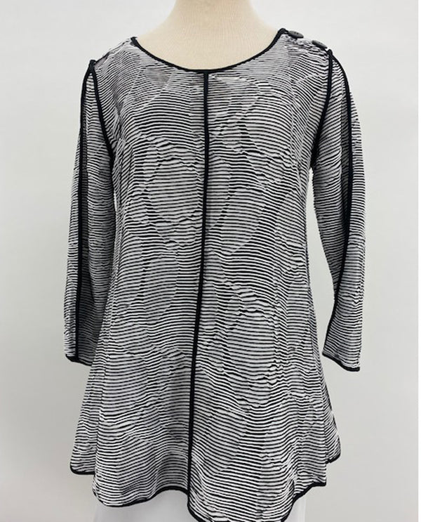 Multiples M20501TW Line Jacquard Knit Top