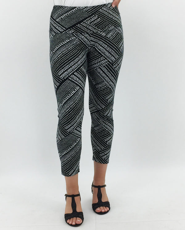 Print Crop Legging-Black & White Print