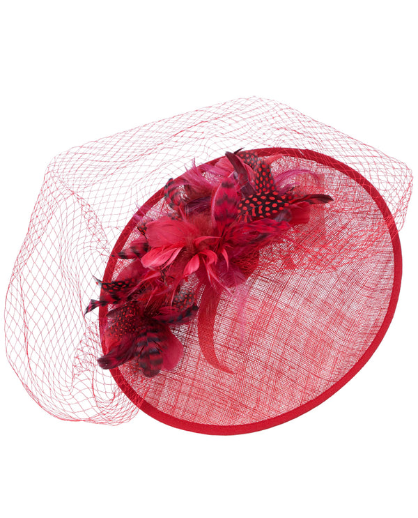 REd Feather Net Fascinator