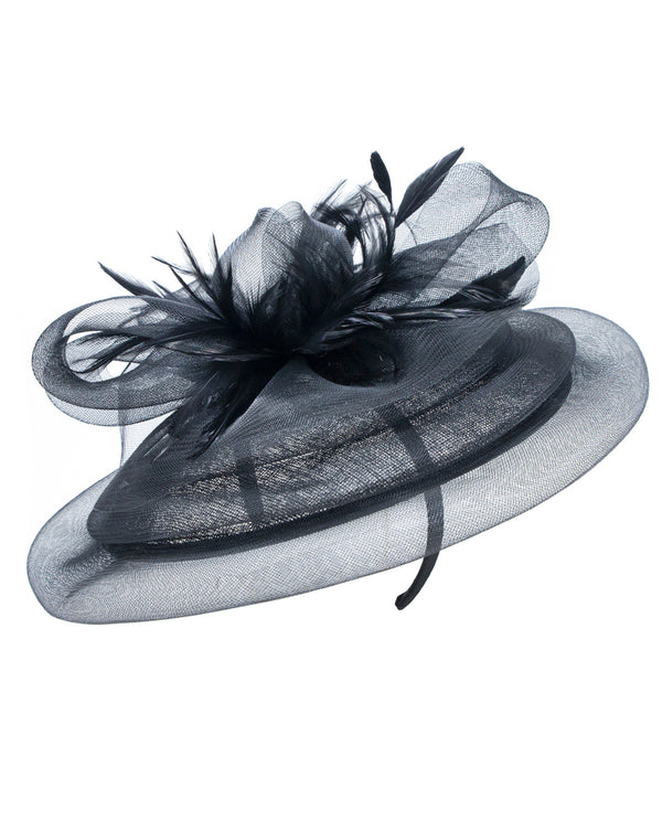 Black Layered Oval Fascinator