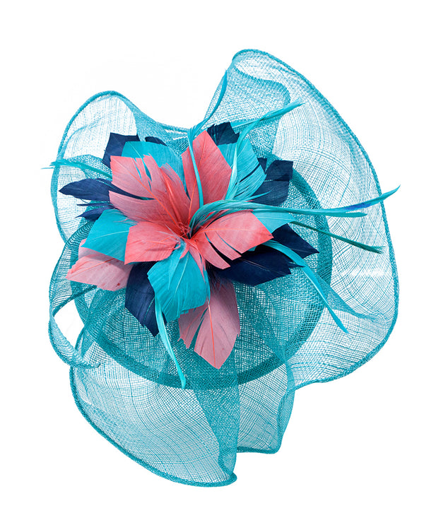 Tri Tone Sinamay Fascinator Teal