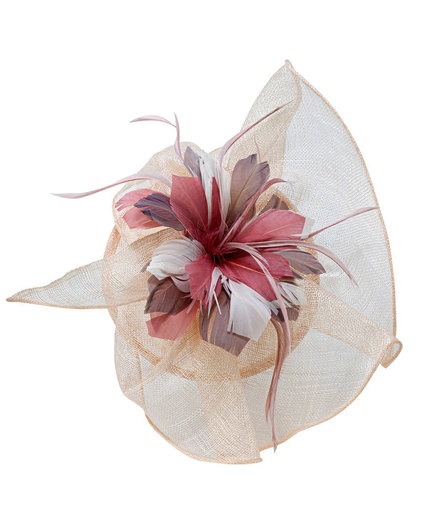 Tri Tone Sinamay Fascinator Natural