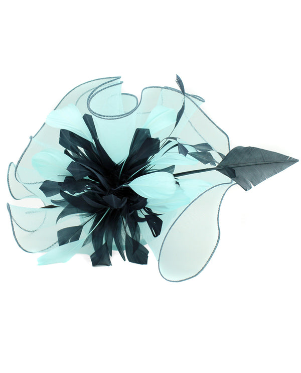 Turquoise Small Ruffle with Feathers Fascinator