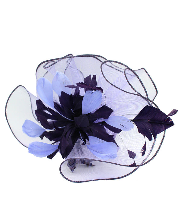 Lavender Small Ruffle with Feathers Fascinator