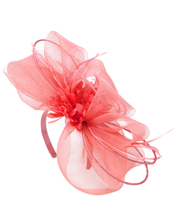 Coral Big Bow with Feathers Fascinator