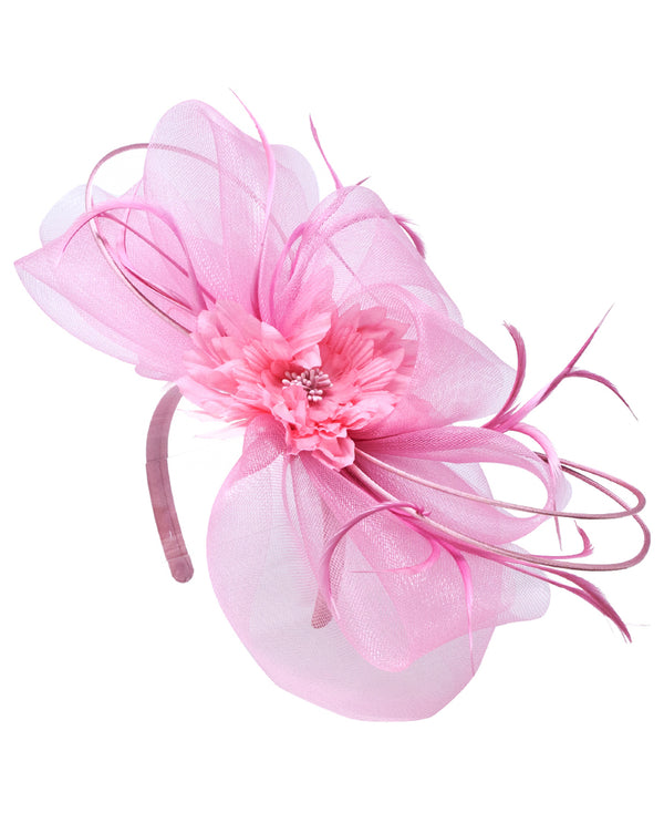 Pink Big Bow with Feathers Fascinator