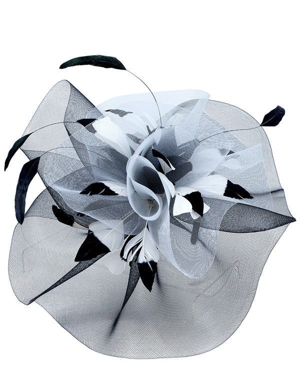 Large Ruffle with Feathers Fascinator