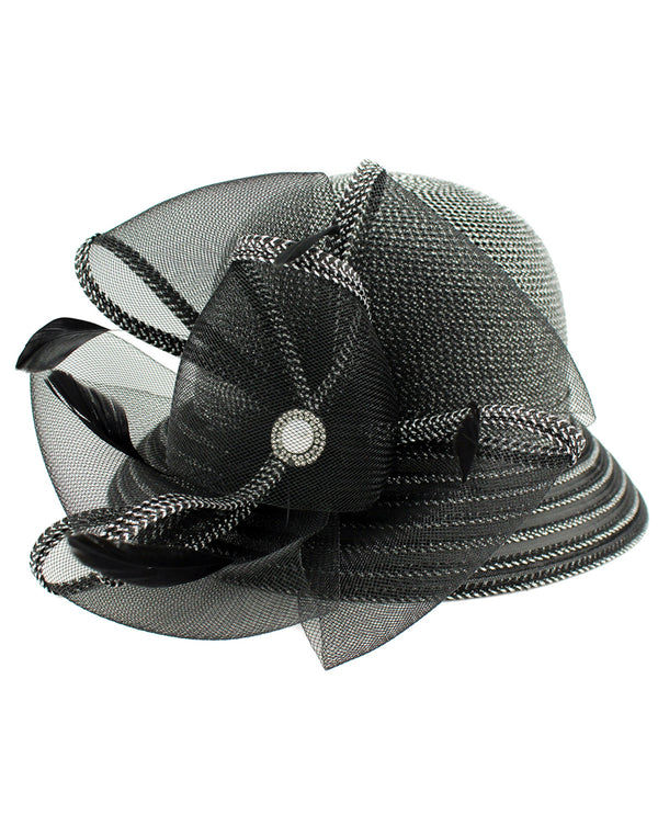 Lurex Cloche Black and Silver