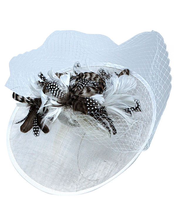 White Feather Net Fascinator