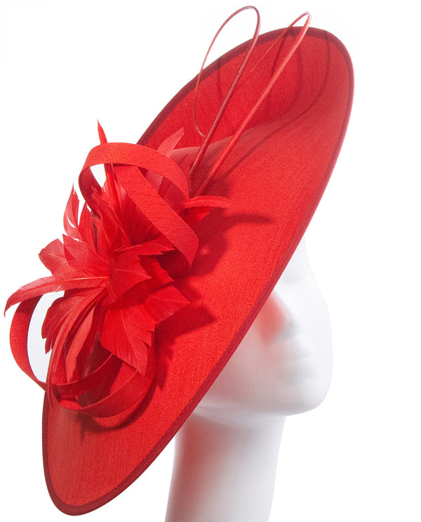 Red Disc with Loop and Feather Fascinator