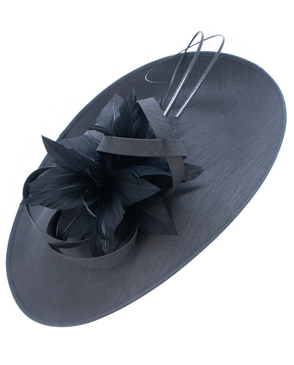 Black Disc with Loop and Feather Fascinator