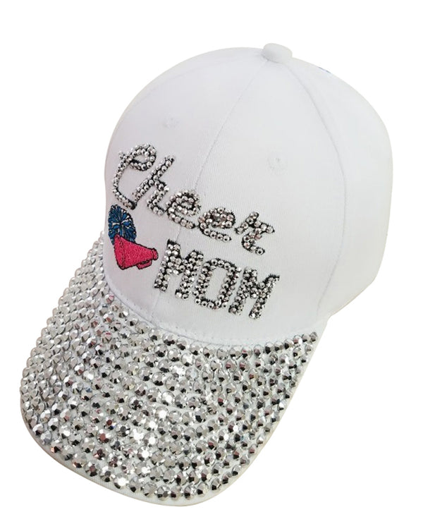 White Cheer Mom Jewel Cap