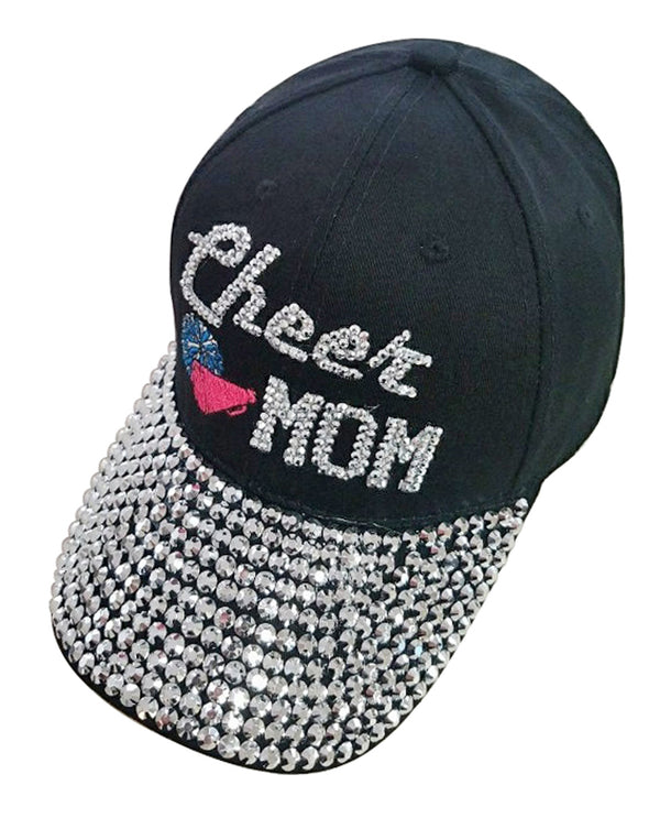 Black Cheer Mom Jewel Cap